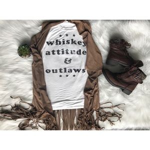 Tops - Whiskey Attitude & Outlaws Muscle Tee White